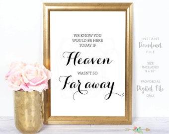 Heaven Wedding Sign, Minimalist Memorial Wedding Sign, Wedding Signage, Bridal Shower Sign, Instant Download