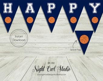 Basketball Birthday Banner-Basketball-Birthday Banner-Are You Game-Basketball Party-Printable Banner