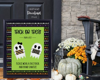 Halloween Porch Sign, Halloween Masks On Sign, Printable Porch Sign, Trick or Treat from 6 Feet, Halloween Porch Sign