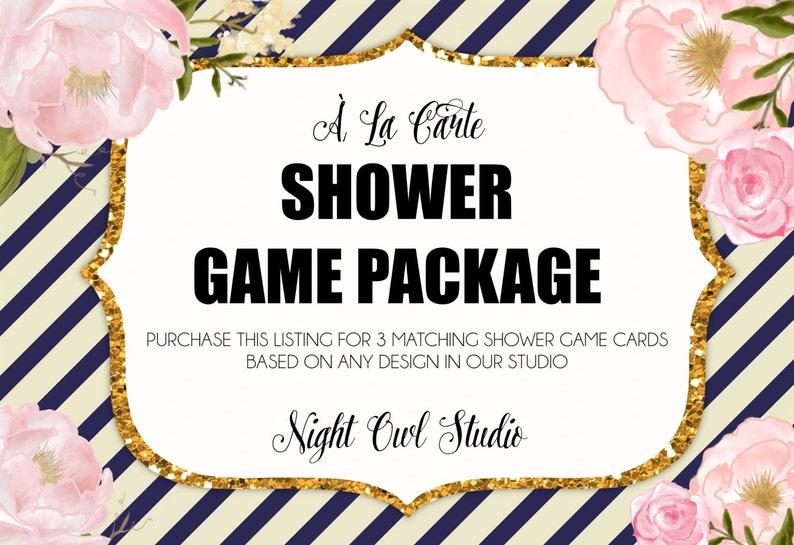 Shower Game Package-\u00c0 La Carte Shower Games-Made to Match-Baby Shower-Bridal Shower-Printable