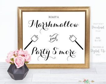 S'mores Wedding Sign, Roast a Marshmallow and Party S'more, Wedding Sign, Bridal Shower Sign, Instant Download