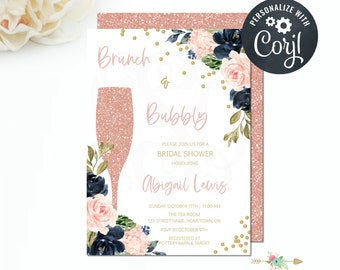 Brunch and Bubbly Bridal Shower Invitation, Floral Champagne, Navy Blush Gold, Bridal Shower Invite, Editable Invitation Template