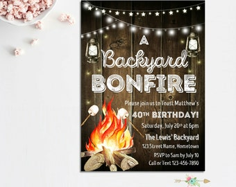 Bonfire Invitation, Backyard Bonfire, Rustic Bonfire Invitation, Backyard Party, Summer Party, Summer Cookout, Bonfire Birthday, BBQ Invite