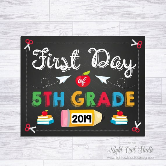 graphic regarding First Day of 5th Grade Printable called To start with Working day of 5th Quality Indicator, Initially Working day of College or university Printable