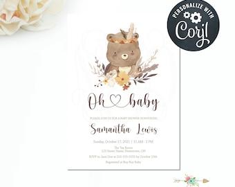 Boho Elephant Baby Shower Invitation, Boho Nursery, Boho Animals, Editable Invitation, Editable Template, Fall Baby Shower