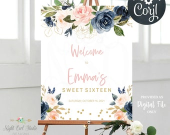 Blush Navy Gold Floral Party Sign, Sweet 16, Quinceanera, Bridal Shower, Baby Shower, Editable Party Sign, Editable Template, Wedding Signs