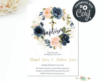 Baptism Invitation, Twins Blush Navy Gold Floral Invitation, Editable Invitation Template, Floral Wreath Invite, Printable Invitation