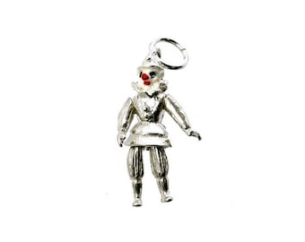 Sterling Silver Movable Pierrot Clown Charm For Bracelets