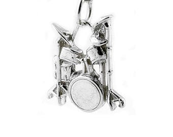 Sterling Silver Drum Kit Charm For Bracelets