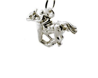 Sterling Silver Race Horse & Jockey Charm For Bracelets