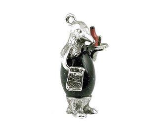 Sterling Silver Penguin Waiter Charm For Bracelets