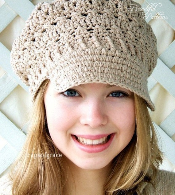 Crochet Hat Pattern Womens Newsboy Hat Slouchy Hat Slouch Etsy