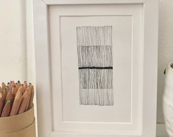 Small Abstract Art: Lines (Frame included!)