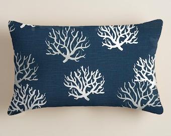 Blue Pillows  -  Pillows - Lumbar  Decorative Throw Pillow -  Accent Pillows  Decor Blue Coral Cushion Covers  Beach Decor