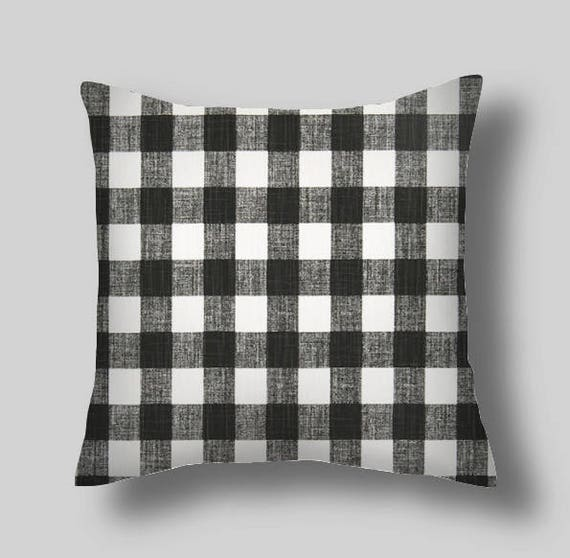 Pillow Cover BUFFALO PLAID INK New Black Throw Pillows Etsy Best Etsy Decorative Throw Pillows