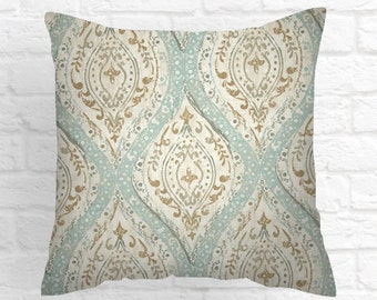 Pillows ivory, tan and teal. Decorative Throw Pillow Covers  Accent Pillows ,Pillows Cushion Covers All Sizes Throw Pillows  Blue Pillows