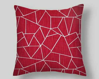 Raspberry  Pillow Covers,  CUT GLASS   pillow covers, french country style, rustic, farmhouse  18 inch  Raspberry