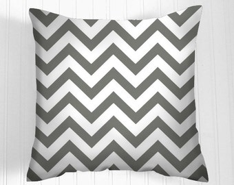 Gray Chevron  Pillow Cover Decorative Pillow Size Choice Throw Pillow Pillows Grey  Lumbar Accent Pillows