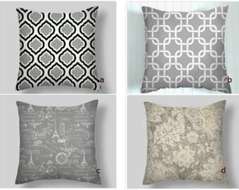 Grey Pillows, Grey Throw Pillows,  Grey Pillow Covers, Decorative Pillows, Accent Pillows,    18 x 18   Adventure Awaits,