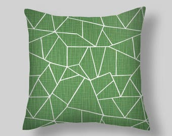 Green  Pillow Covers,  CUT GLASS   pillow covers, french country style, rustic, farmhouse  18 inch  pine green