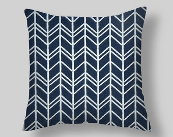 """Vintage Indigo Blue Pillow Covers with stripes, 18 """" Pillow Covers, Decorative Pillows, , Throw Pillows, Pillow Covers"""