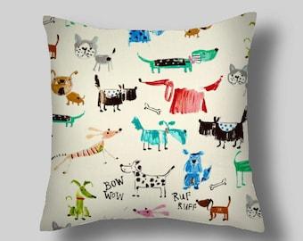 Blue Decorative Pillows, Bow Wow Twill Sherbet Pillows, Sizes, 16 18 x 18 20, Pillow Cover,  Blue Throw Pillows, Pillows.   Pillow Covers