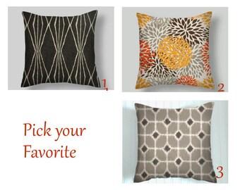 Grey Pillow Covers, Orange  Throw Pillows, Grey Pillows, Grey  Decorative Pillows, Throw Pillows, Home Decor, 16  18 x 18  20 Blue Pillows