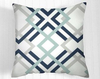 Pillows, Navy Pillow, Decorative Pillows,Pillow Covers. Colors  navy, aqua, grey and white.Decorative Pillows, Pillows, Throw Pillow, Pillow