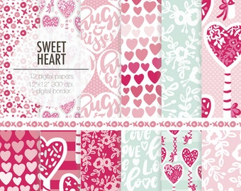 Valentines SWEET HEART digital paper kit. Hugs and kisses quote, candy, heart, love patterns in pink, rose fuchsia and mint colors.