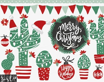 CHRISTMAS CACTUS clipart, wreath, calligraphy for cards, stickers in red, black and green. Holiday frames, cactuses in pot, bunting, flowers