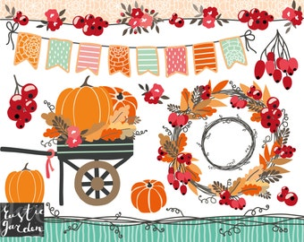 fall wreath clipart thanksgiving clipart wagon with pumpkins cart autumn bunting pumpkin picking floral vine borders red currants