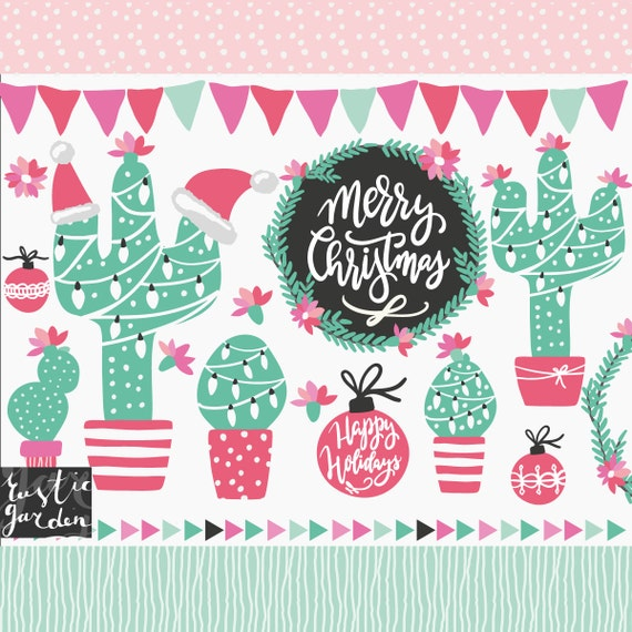Merry Christmas In July Clipart.Holiday Cactus Christmas In July Clipart Calligraphy Merry Christmas Chalkboard Black Frame Cactuses With Garland Bunting Clip Art