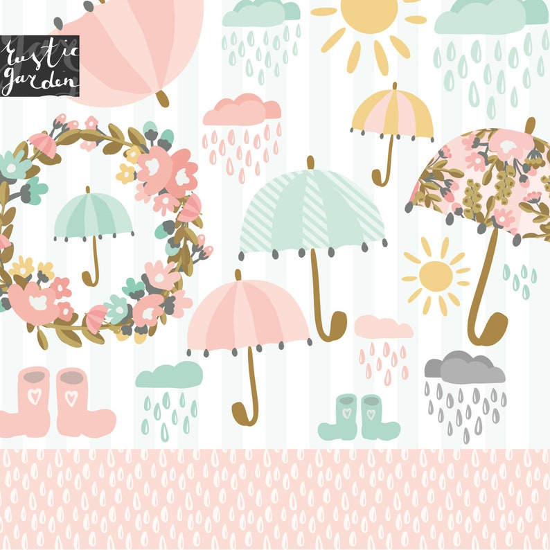 0c4e30a6f UMBRELLA clipart kit. Floral wreath with pink umbrellas rainy | Etsy