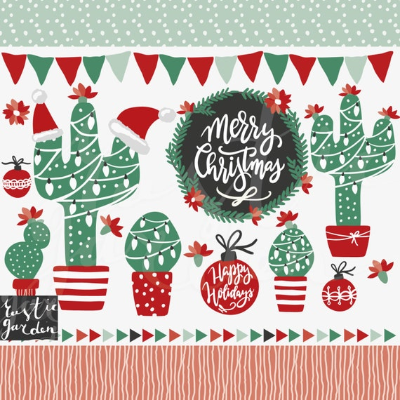 Christmas Cactus Clipart.Christmas Cactus Clipart Wreath Calligraphy For Cards Stickers In Red Black And Green Holiday Frames Cactuses In Pot Bunting