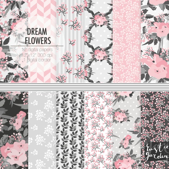 Pink gray digital paper flower scrapbooking digital paper etsy image 0 mightylinksfo