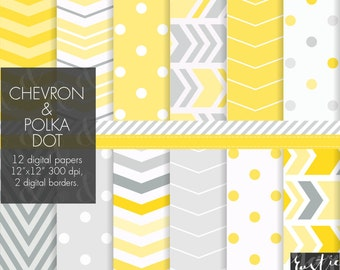Yellow and grey digital paper. Chevron and polka dot patterns fot party decor, cards, invitations in lemon yellow and neutral grey.