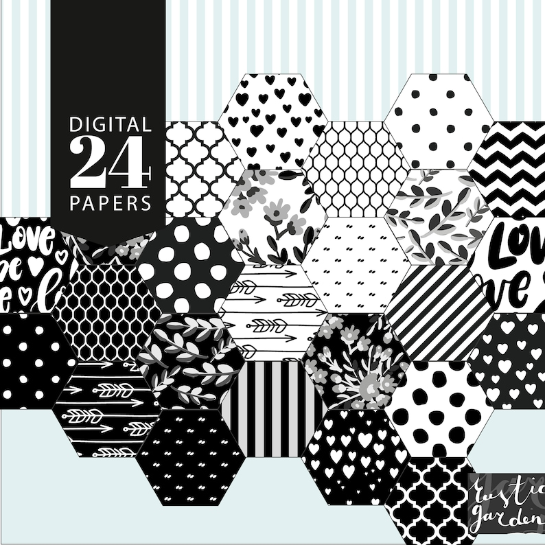 polka dot trellis floral leaves arrow patterns. striped Heart BLACK and WHITE 24 digital papers kit polka dot