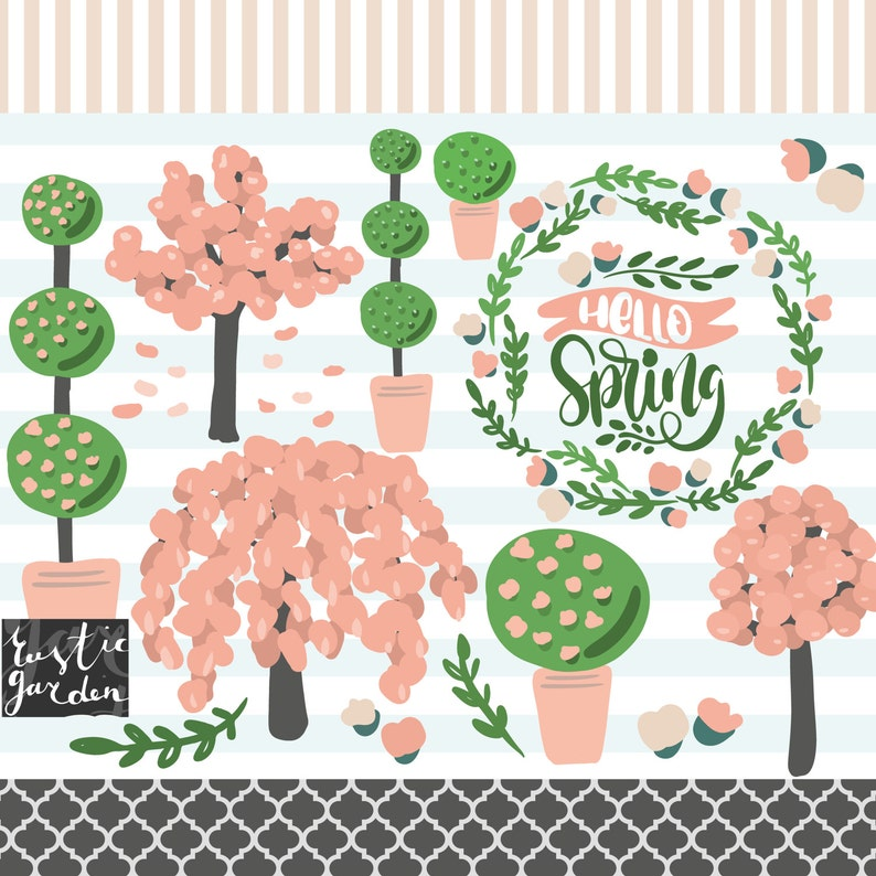 Spring Tree Clipart Kit Spring Bloom Wreath Trees Topiary Etsy