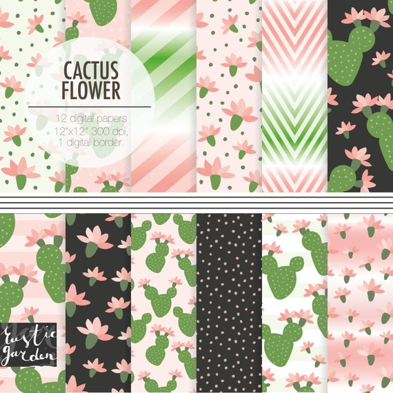 CACTUS FLOWER Digital Paper Pack With The Cactuses For Cacti Etsy