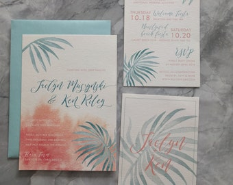 Tropical Romantic Palm Leaves and ocean blue Wedding Invitations - Beautiful watercolor palm leaf and blush invitation set - printable