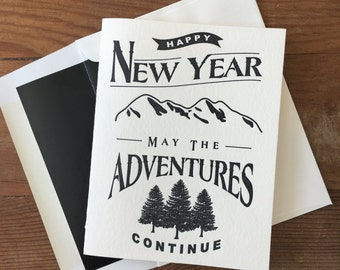 Letter Pressed New Year, New Adventure Card