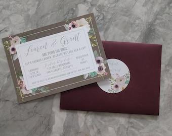Watercolor Floral & Succulent Bridal Shower Invitations - Rustic Boho Wedding invites - Custom Printable
