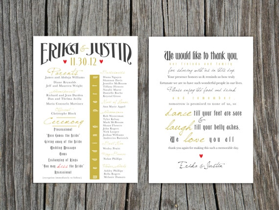 printable front and back wedding program and thank you etsy