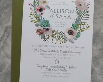 Watercolor Floral Succulent Wreath Bridal Shower Invitations - Rustic Boho Wedding invites - Custom Printable