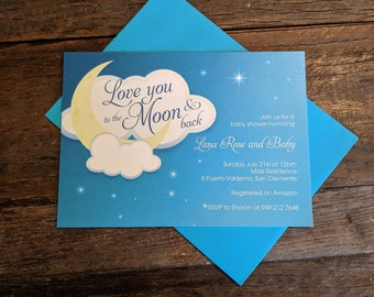 To the Moon and Back Baby Shower Invitation