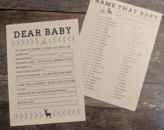 Baby Shower Games for Rustic Woodland Theme Shower (Set of 10 of 2 games)