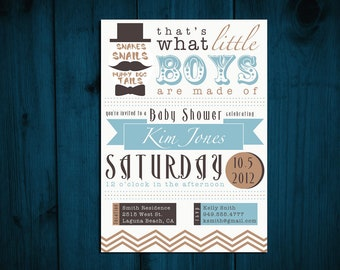 "Printable Baby Shower Invitation BABY BOY ""Snakes, Snails & Puppy Dog Tails"""