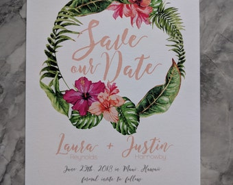 Tropical Floral Wreath & Palm leaves Bridal Shower Invitations - Tropical island Wedding invites - Custom Printable