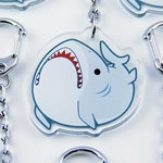 Derpy Great White Shark Acrylic Charm Keychain