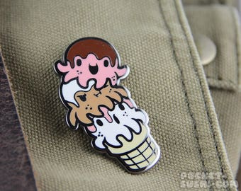 Octopus Ice Cream Cone Hard Enamel Pin